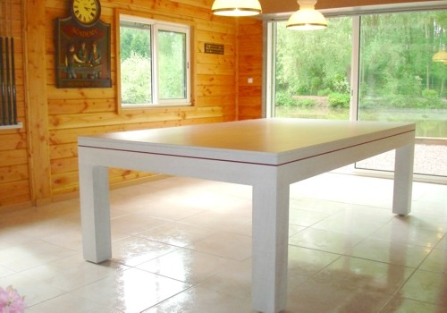 Billard table billard contemporain eos en chene ceruse blanc transformable e - Billard transformable en table ...