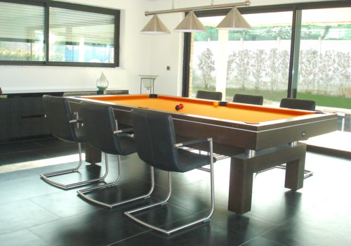 Billard table billard table design arcade 2m60 tapis orange lisere aluminium - Table de salon billard ...