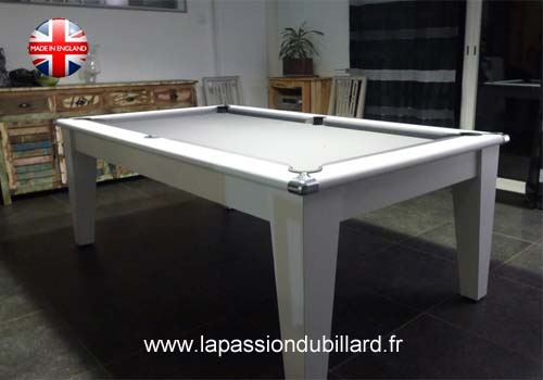 Billard table billard table york blanc design tapis gris - Table de billard transformable ...