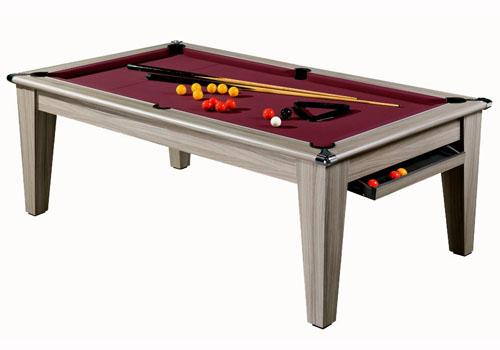 Billard contemporain billard table moderne york ch ne gris tapis bordeau - Table et billard a la fois ...