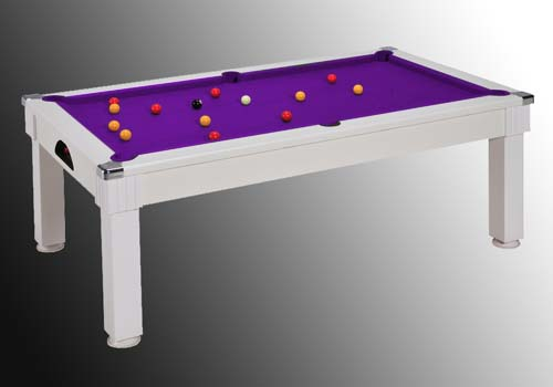 Billard en promotion, billard windsor table blanc tapis violet