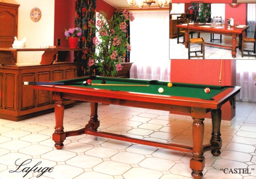 Billard de salon billard americain transformable francais table castel merisier pieds tournes - Table de billard transformable ...