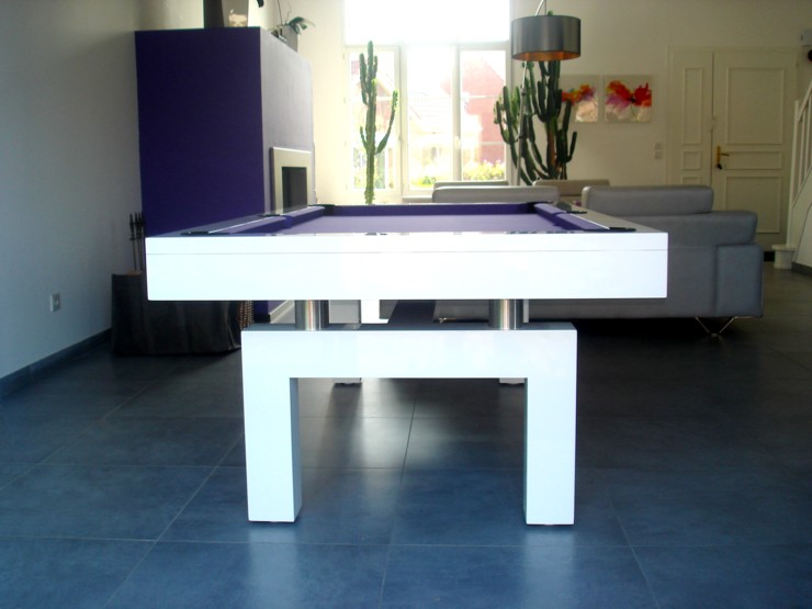 Photo Billard Table Billard Blanc Laque Arcade Moderne Tapis Fushia