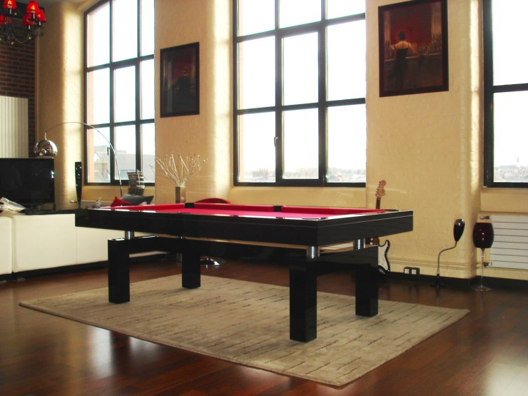 Photo billard de salon billard laque noir arcade design - Table de billard moderne ...