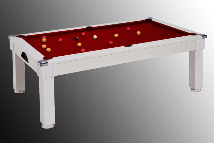 Billard en promotion, billard transformable en table blanc tapis rouge