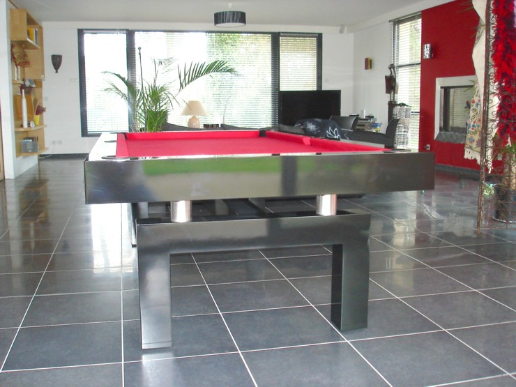 photo billard table billard contemporain arcade laque noir pieds en arche tube inox. Black Bedroom Furniture Sets. Home Design Ideas